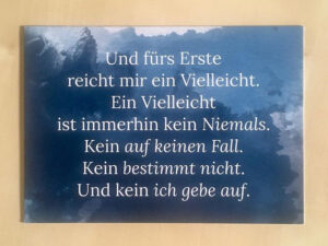 Postkarte mit Zitat aus Nur kurz leben